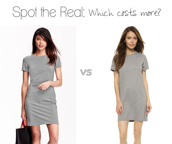 Can you guess which t-shirt dress costs more?