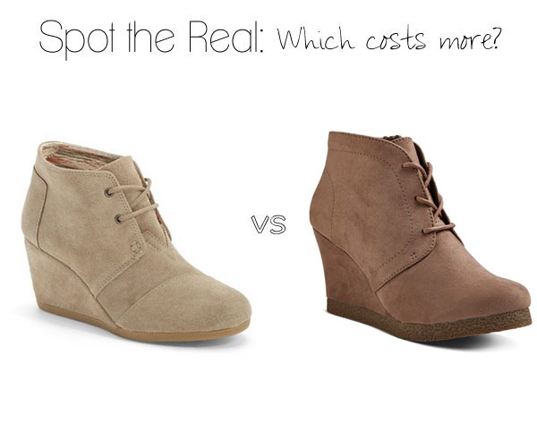 Can you spot the real TOMS wedge booties?