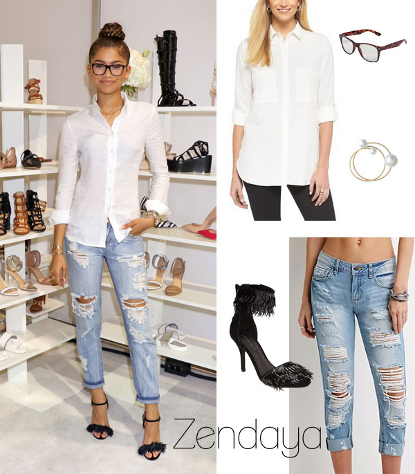 Zendaya Coleman wears a white button down shirt, destroyed denim and strappy heels for the debut of her new shoe collection, Daya.