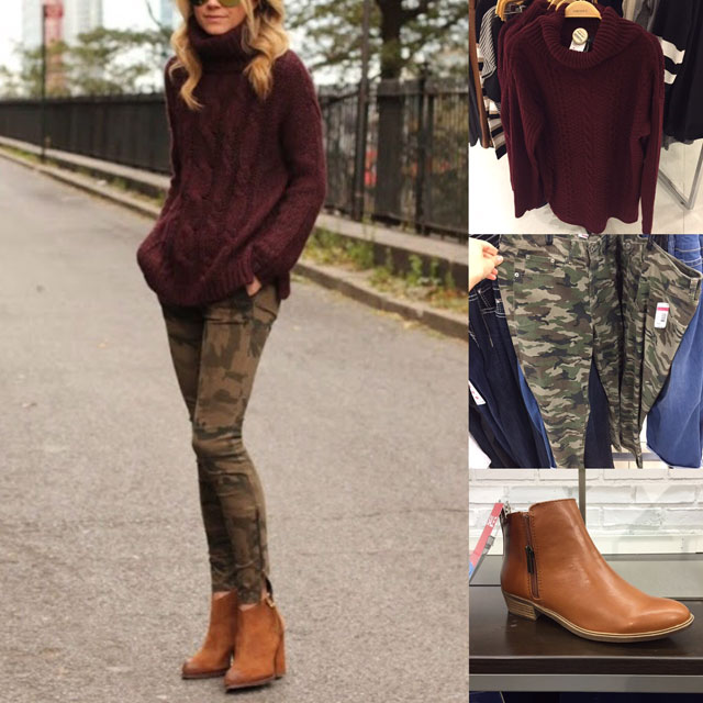 Fall outfit featuring burgundy sweater, camo pants and cognac ankle boots