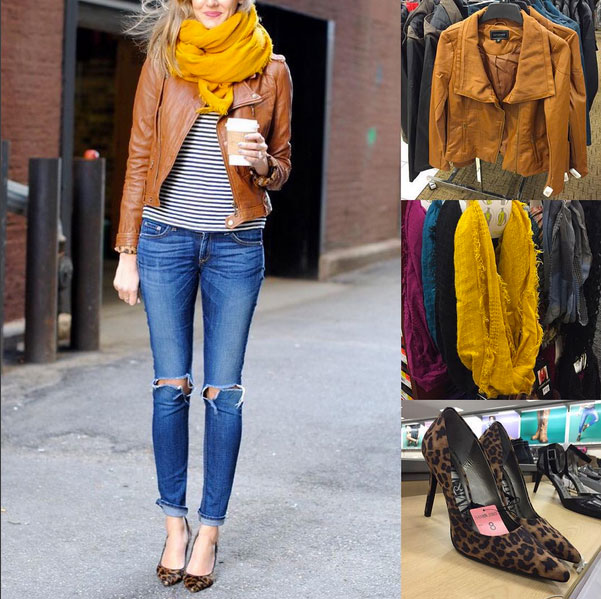 Fall outfit inspiration featuring mustard scarf, cognac leather jacket, striped top, distressed jeans and leopard pumps