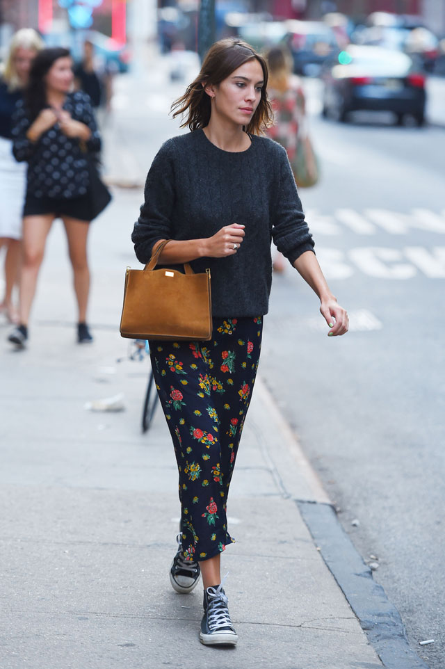 To the Max Alexa Chung\u0027s Chunky Sweater and Floral Maxi