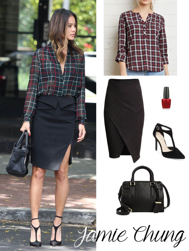 Jamie Chung's plaid blouse, peplum black pencil skirt, black t-strap pumps and black satchel look for less