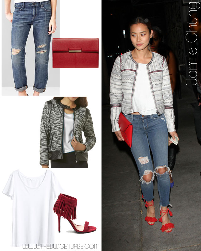 Jamie Chung's tweed jacket, boyfriend jeans and red accessories outfit idea