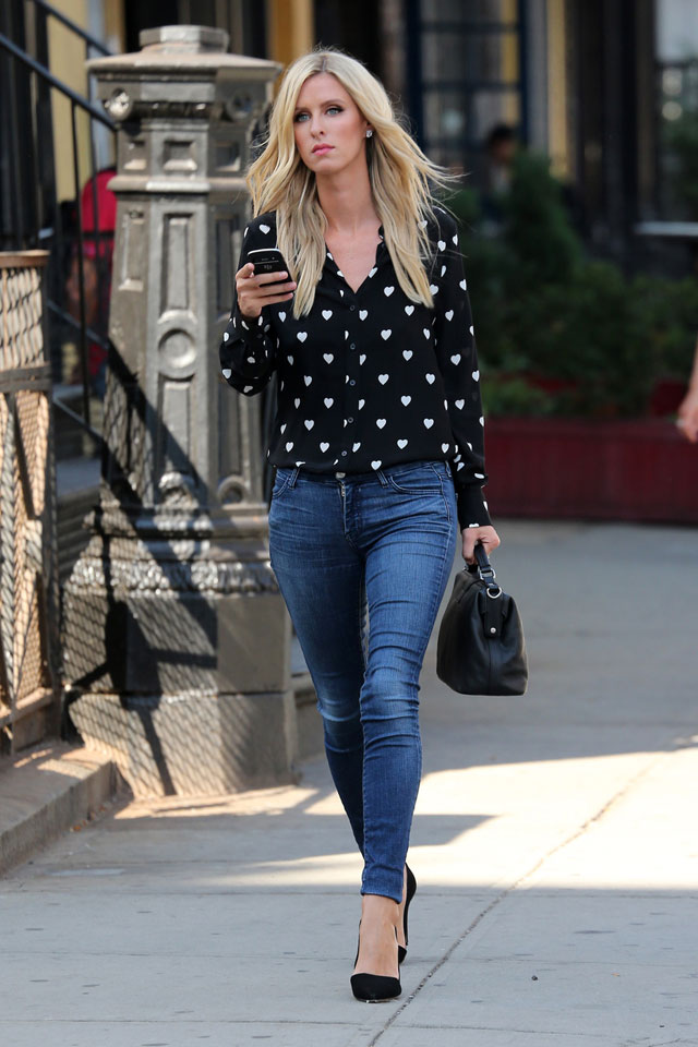 Nicky Hilton's heart print blouse and skinny jeans outfit