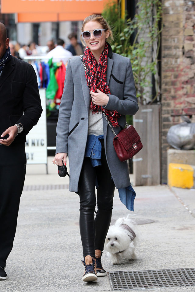 Olivia Palermo fashion style look for less featuring a gray coat, leather pants, maroon accessories