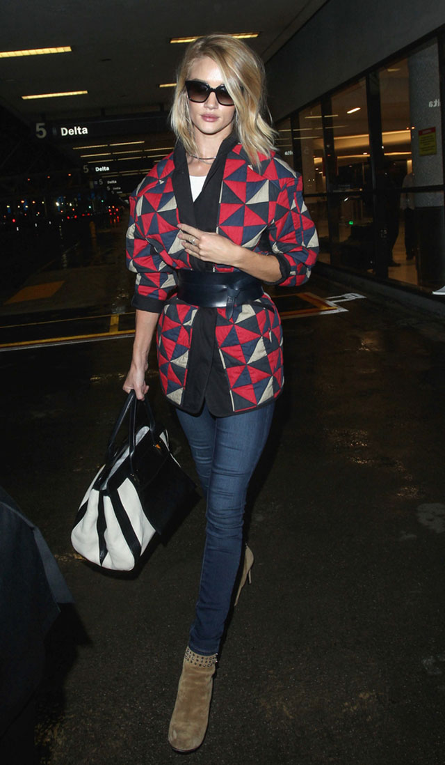 Rosie Huntington-Whiteley's geo print cardigan coat and ankle boots outfit