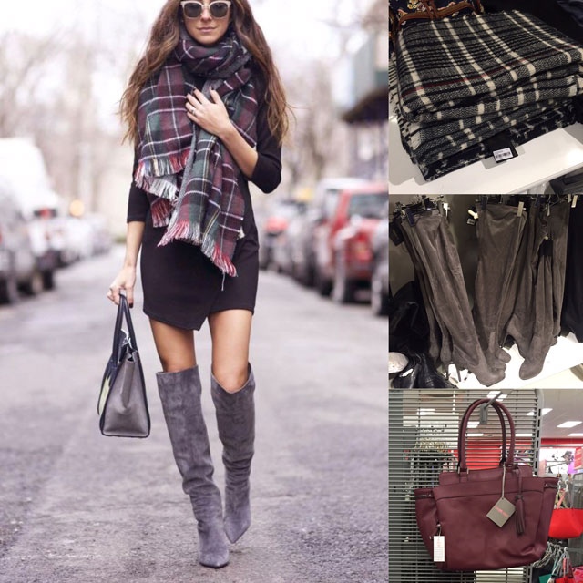 Fall outfit featuring LBD, blanket scarf and over the knee boots