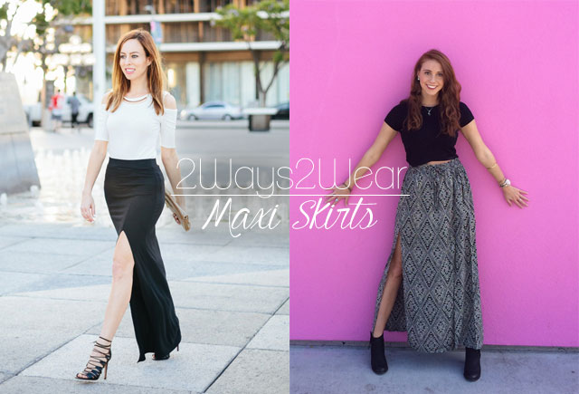 Two ways to style a maxi skirt