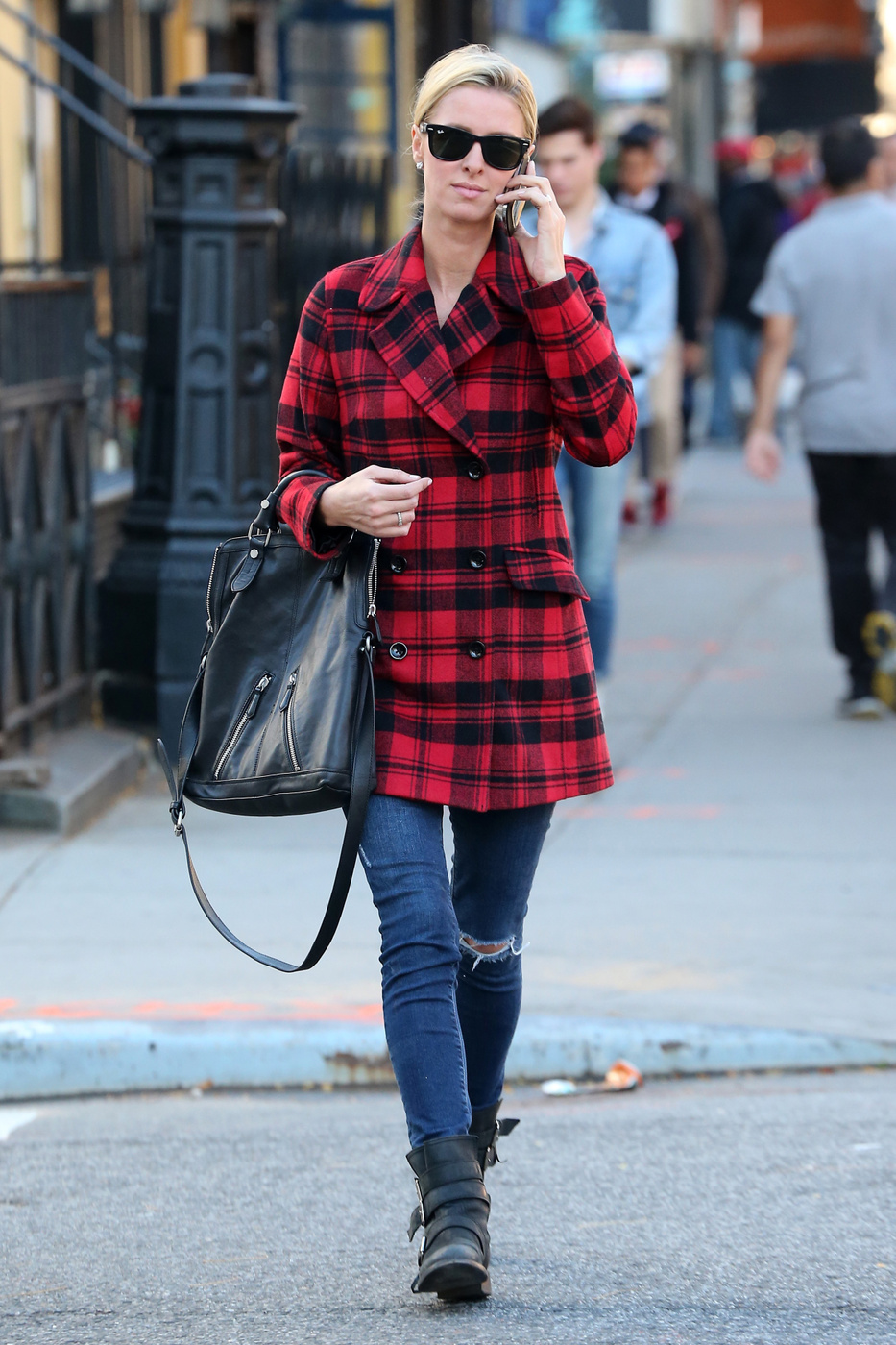 Nicky Hilton's red plaid peacoat look for less