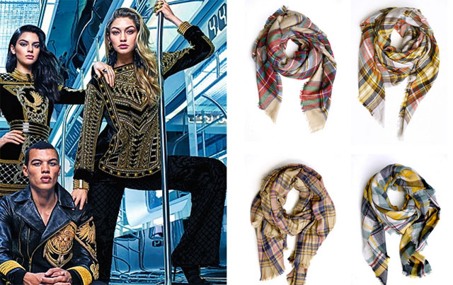 Balmain x H&M ad campaign, plaid scarves under $30 and more