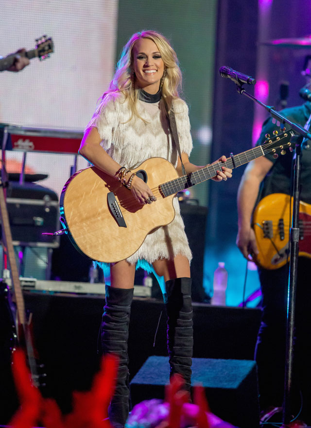 Carrie Underwood wears Rebecca Minkoff dress and boots on Jimmy Kimmel Live