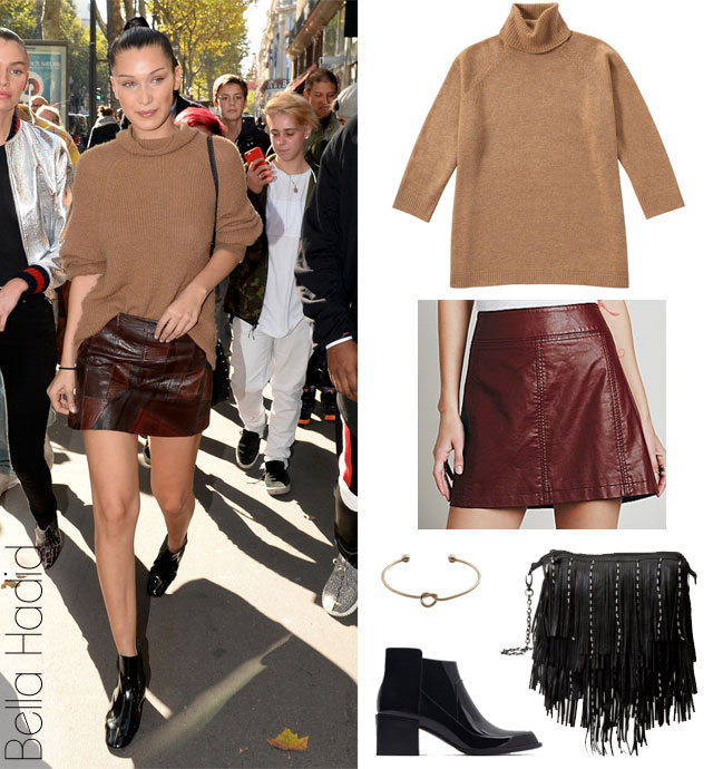 Bella Hadid's camel sweater, burgundy mini leather skirt and black ankle boots