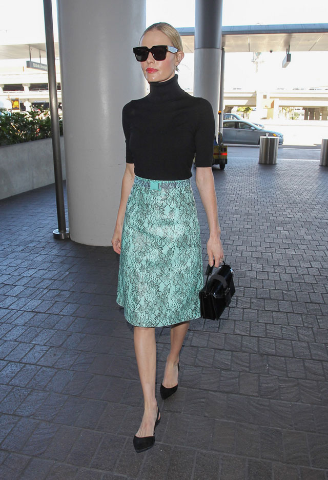 Kate Bosworth's mint lace pencil skirt and black short sleeve turtleneck look for less