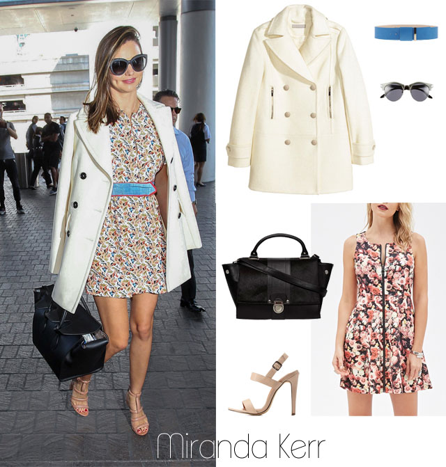 Miranda Kerr's white coat and floral dress look for less