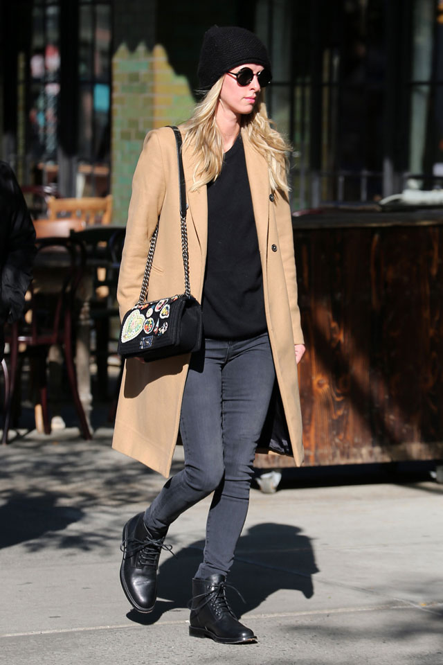 Nicky Hilton's camel coat and gray coat outfit idea