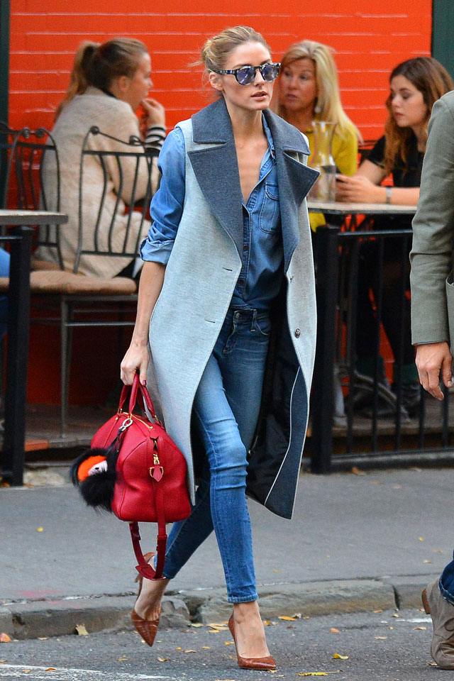 Olivia Palermo's double denim and longline vest look for less