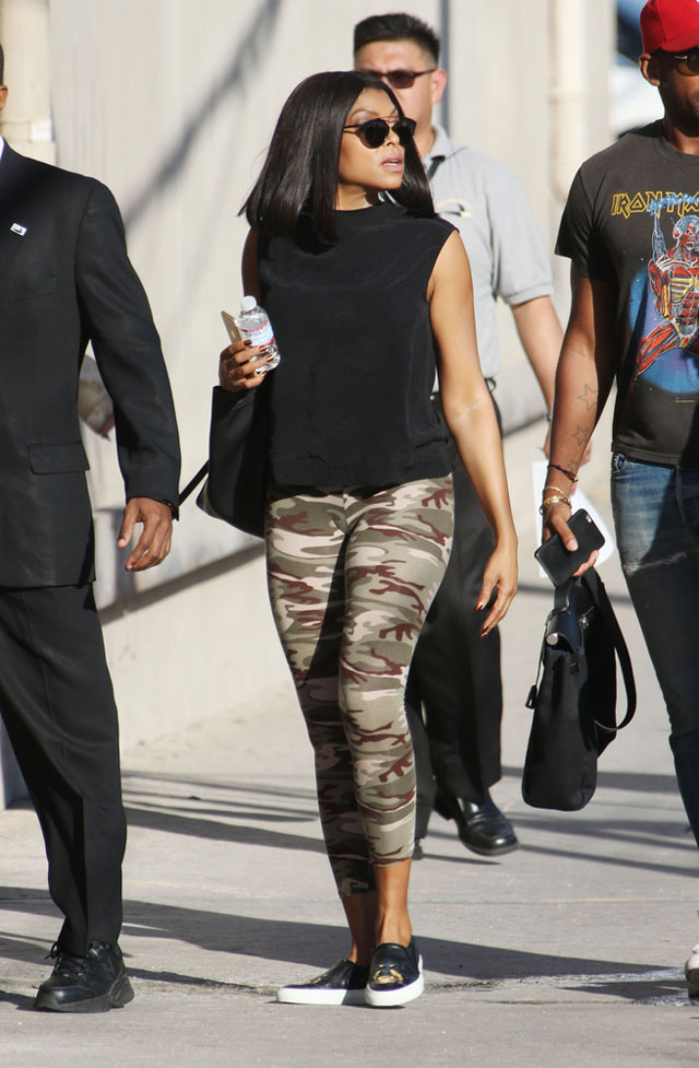 Taraji P. Henson's camo leggings and cap sleeve tank look for less
