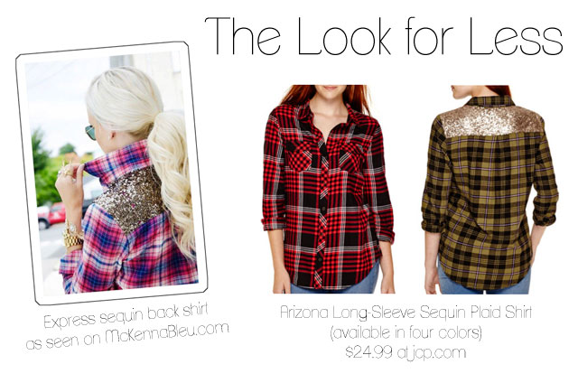 Express plaid sequin back shirt as seen on McKenna Bleu