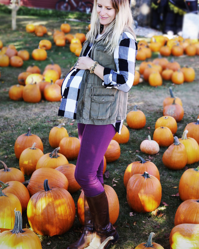 Fall outfit featuring cargo vest, check shirt, purple leggings