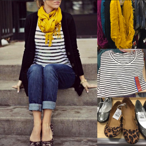 Fall outfit idea featuring yellow scarf, striped top, black cardigan, boyfriend jeans and leopard flats