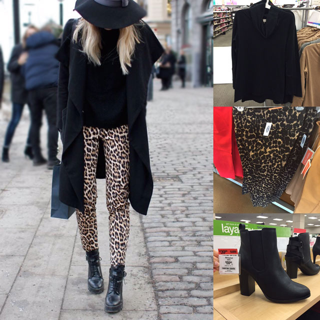 Fall outfit idea featuring Old Navy leopard pants, black ankle boots, black hat and black sweater
