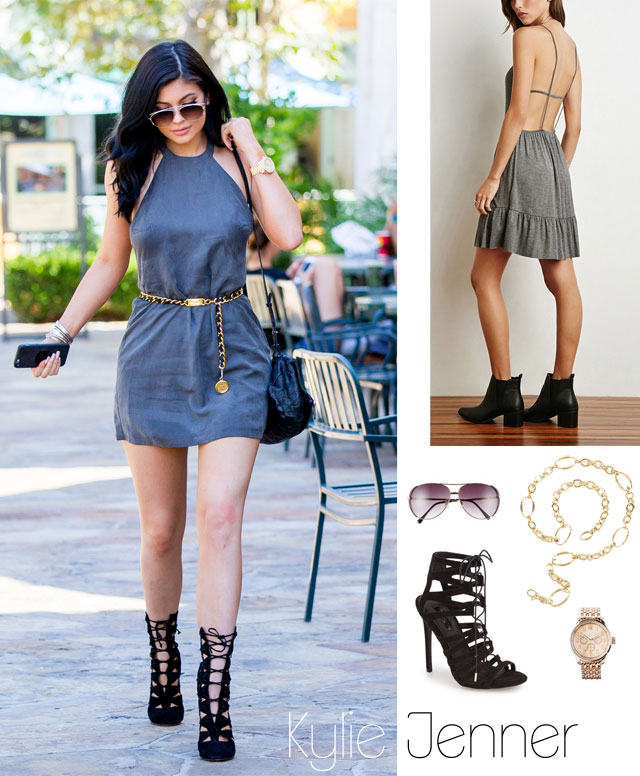Kylie Jenner's gray dress and cage heels outfit