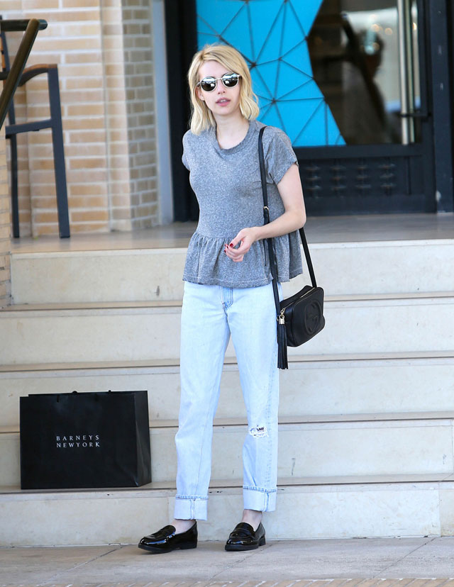 Emma Roberts' peplum top and Vince Camuto loafers look for less