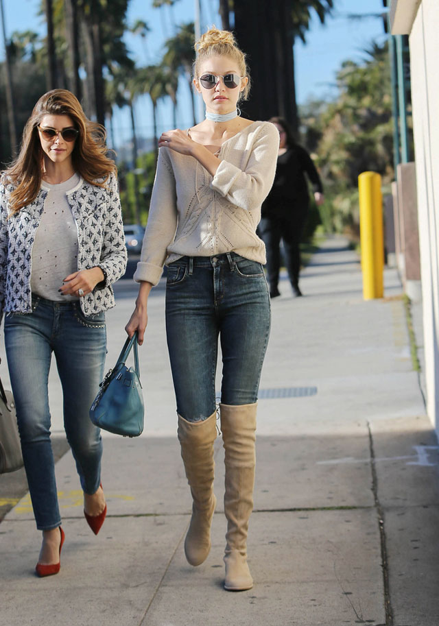 96cc08b5175 Highs and Lows  Gigi Hadid s Ivory Sweater and Suede Over-the-Knee ...