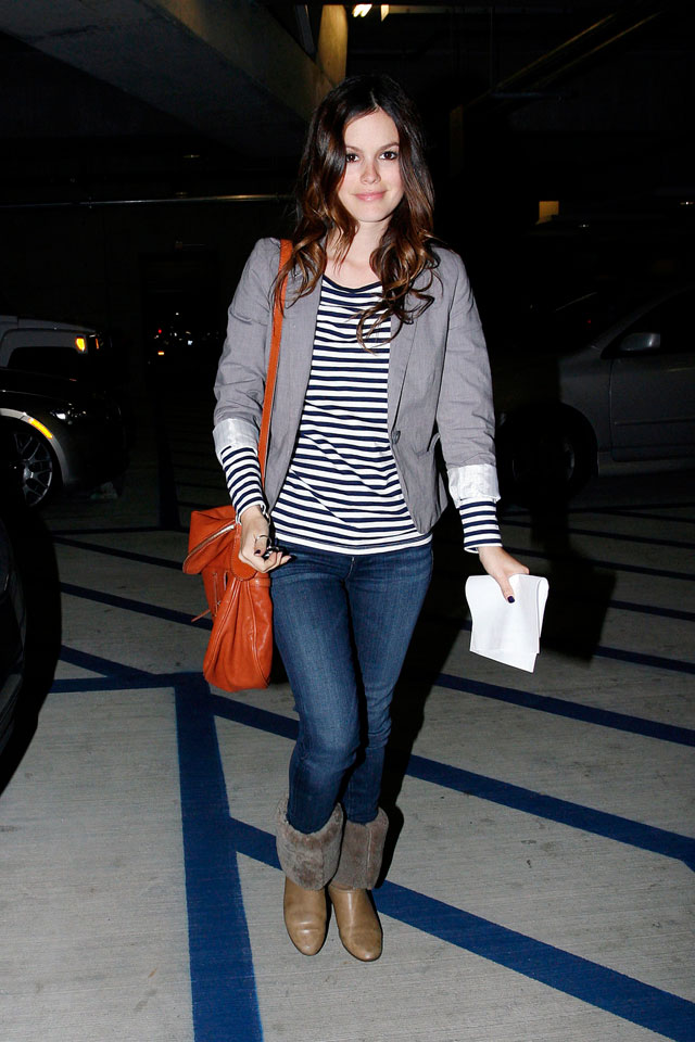 Rachel Bilson's striped shirt, gray blazer and fur cuff boots look for less