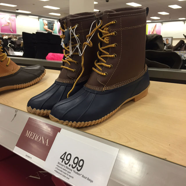 LL Bean Duck Boots dupes at Target, the Hudson by Merona!