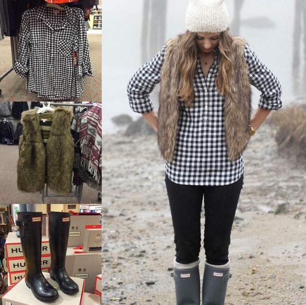 Fall outfit inspiration featuring check shirt, fur vest and Hunter wellies