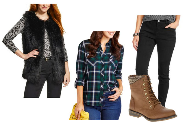 Fur vest, plaid shirt and lace-up boots outfit idea on a budget