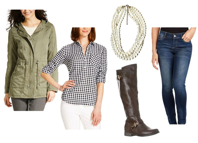 Cute and trendy fall outfit idea featuring check shirt, cargo jacket and pearls