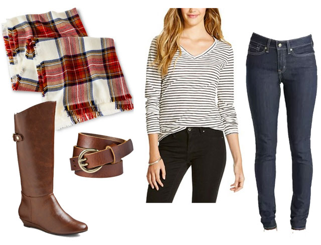 Cute and trendy fall outfit idea featuring plaid blanket scarf, striped shirt and wedge boots