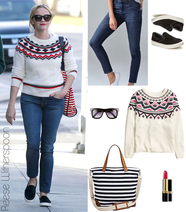 Fair Isle Fashionable: Reese Witherspoon's Sweater and Slip-On ...