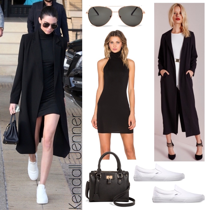 6a0aada52cb0 Back in Black  Kendall Jenner s Bodycon Dress and Longline Duster ...