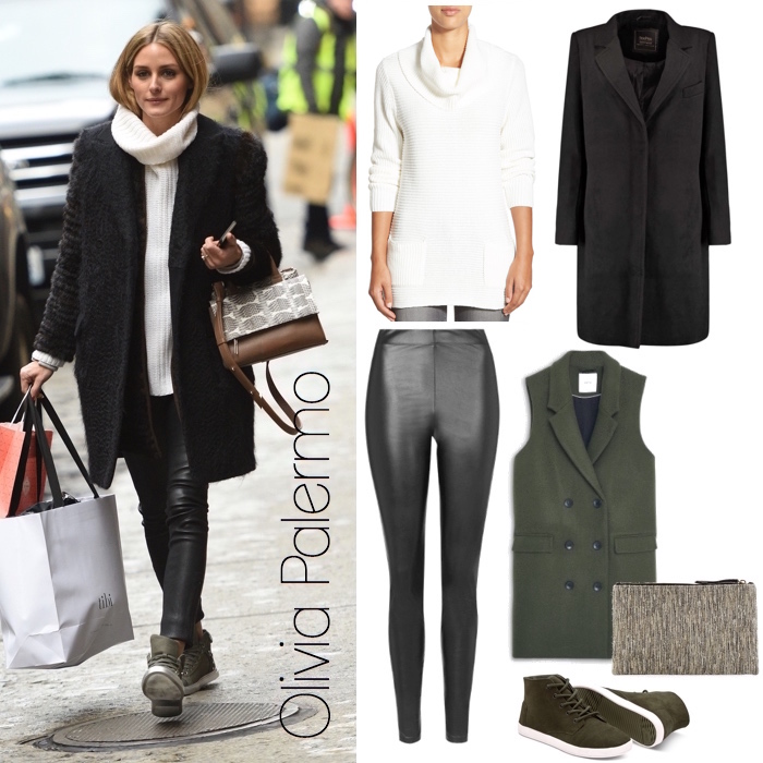 b098715daef36d Mixed Media: Olivia Palermo's Cozy Knit and Leather Leggings Look ...