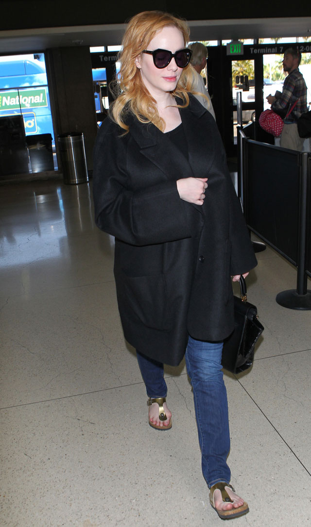 Christina Hendricks airport style and  Birkenstock sandals
