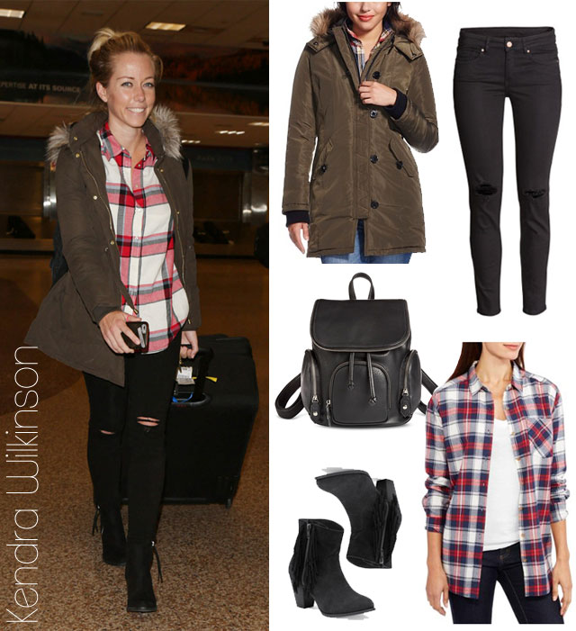 Kendra Wilkinson's plaid shirt and olive parka look for less