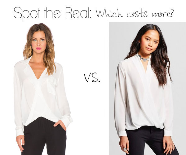 Can you spot the real drape front blouse?