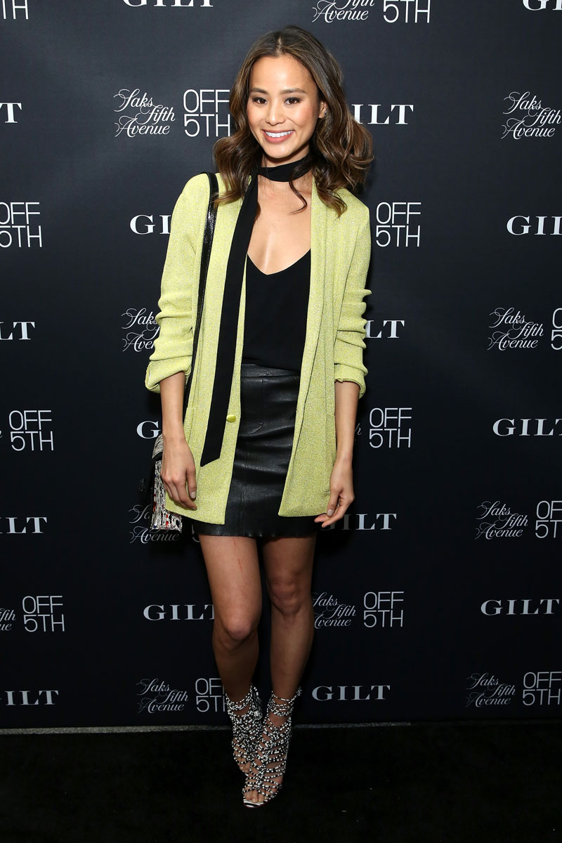 Jamie Chung Green Cardigan Black Skirt