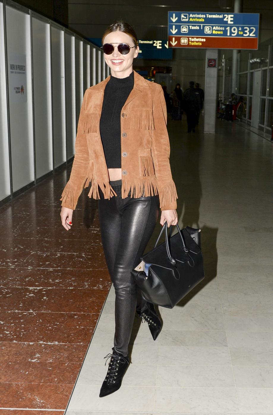 MirandaKerrSuedeLaceUpBooties - 8 ways to wear leather pants like a Rockstar!
