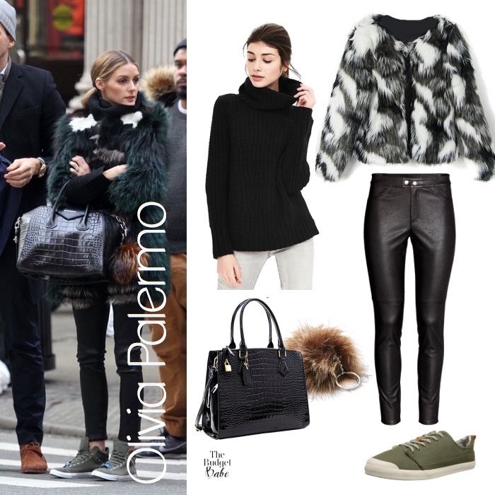 Olivia Palermo Leather and Fur Look