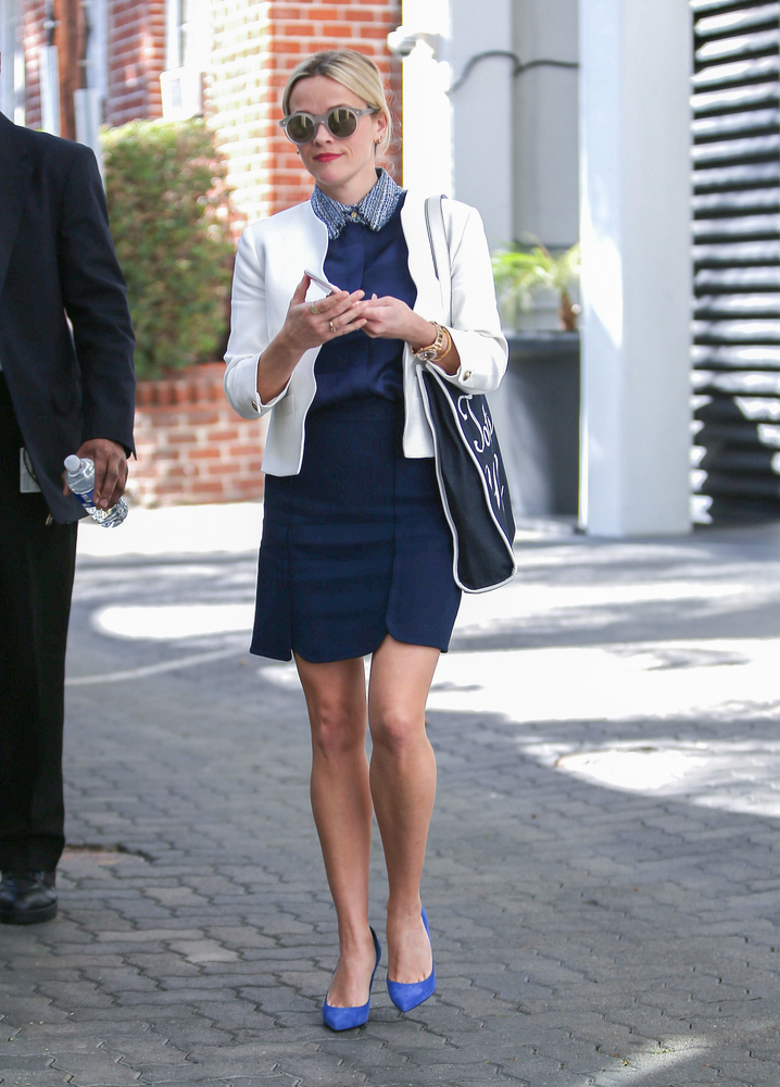 Reese Witherspoon Navy Skirt and White Blazer Look for Less