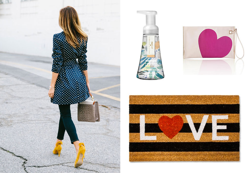 Sydne Summer's polka dot trench and yellow pumps, LOVE door mat and more