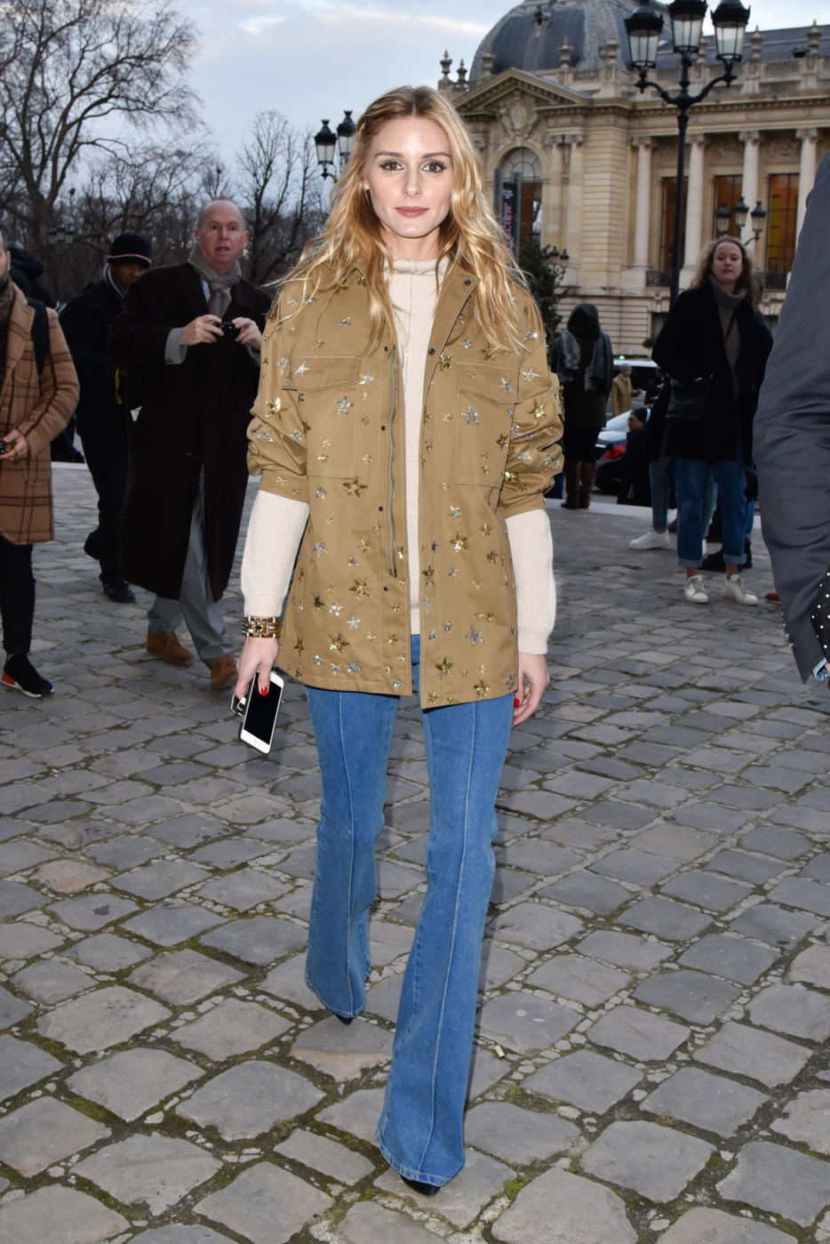 Olivia Palermo Military Jacket Flared Jeans