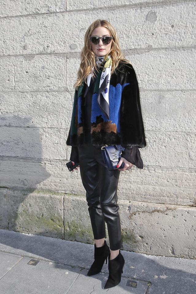 Olivia Palermo Silk Scarf Fur Coat