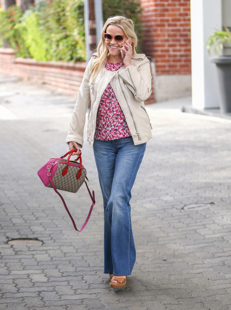 Reese Witherspoon Pink Floral Top Leather Jacket