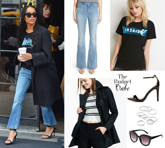 Zoe Kravitz's black trench and flare leg jeans look for less